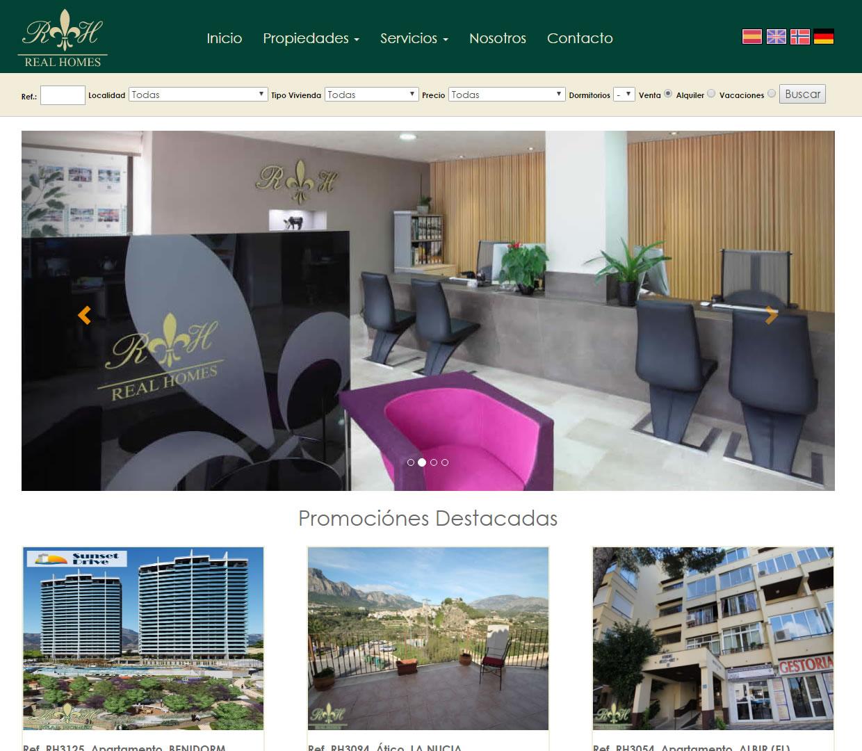 Nueva página web para la inmobiliaria Real Homes
