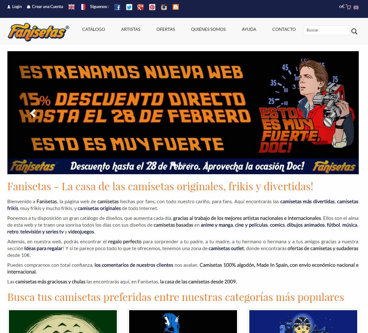 Rediseño página web Fanisetas.Com