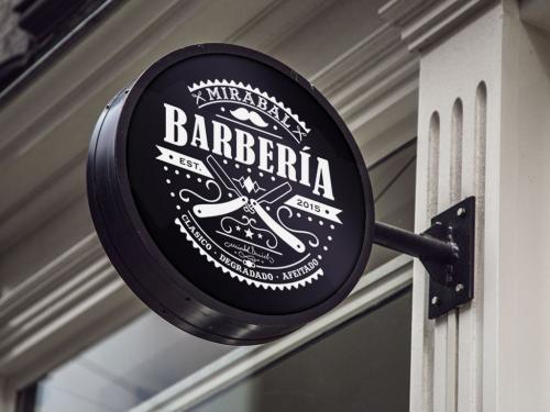 Mirabal Barberia Logo Letrero Montaje